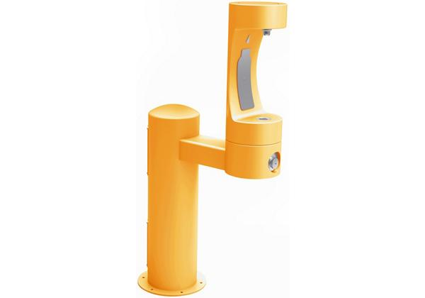 Image for Halsey Taylor Endura II Outdoor HydroBoost Bottle Filling Station, Pedestal Non-Filtered Non-Refrigerated, Yellow from Halsey Taylor
