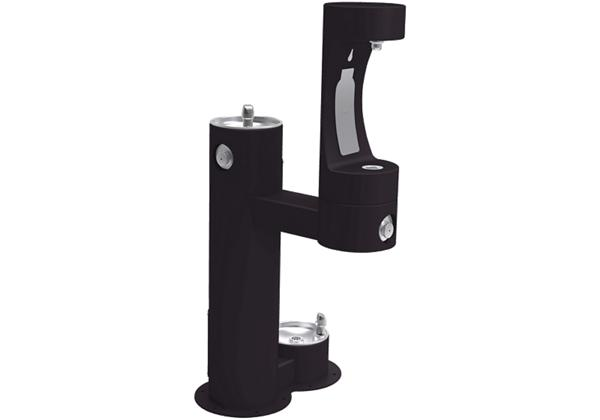 Image for Elkay Outdoor EZH2O Bottle Filling Station Bi-Level, Pedestal with Pet Station Non-Filtered Non-Refrigerated Black from Elkay Asia Pacific