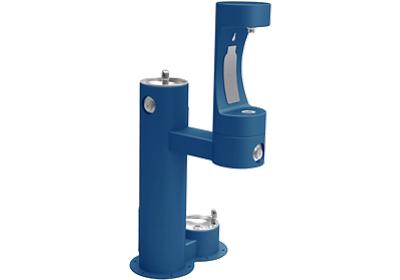 Image for Elkay Outdoor EZH2O Bottle Filling Station Bi-Level, Pedestal with Pet Station Non-Filtered Non-Refrigerated Blue from ELKAY