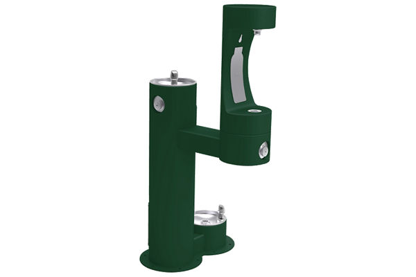 Elkay Outdoor ezH2O Bottle Filling Station, Bi-Level Pedestal with Pet Station Non-Filtered, Non-Refrigerated Freeze Resistant