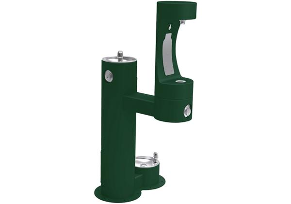 Image for Halsey Taylor Outdoor HydroBoost Bottle Filling Station,  Bi-Level w/ Pet Station Non-Filtered Non-Refrigerated FR Evergreen from Halsey Taylor