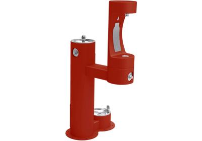 Image for Elkay Outdoor EZH2O Bottle Filling Station Bi-Level Pedestal, with Pet Station Non-Filtered NonRefrige Freeze Resistant Red from ELKAY