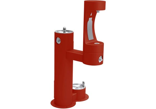 Image for Elkay Outdoor EZH2O Bottle Filling Station Bi-Level, Pedestal with Pet Station Non-Filtered Non-Refrigerated Red from Elkay Asia Pacific