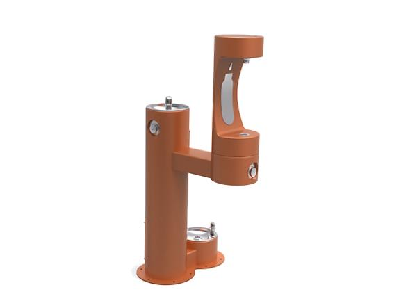 Image for Halsey Taylor Outdoor HydroBoost Bottle Filling Station,  Bi-Level w/ Pet Station Non-Filtered Non-Refrigerated FR Terracotta from Halsey Taylor