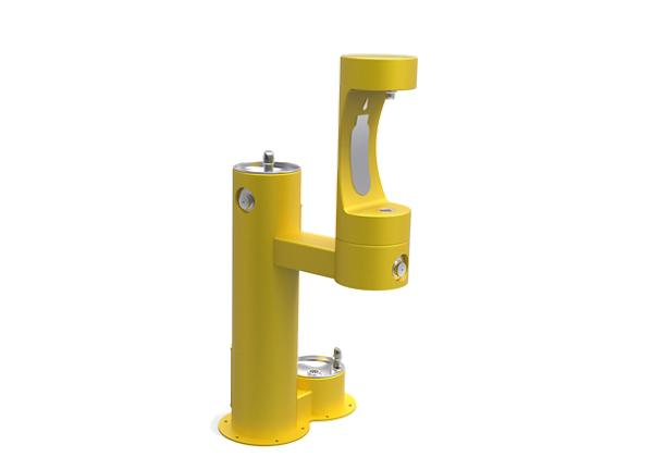 Image for Halsey Taylor Outdoor HydroBoost Bottle Filling Station,  Bi-Level w/ Pet Station Non-Filtered Non-Refrigerated FR Yellow from Halsey Taylor