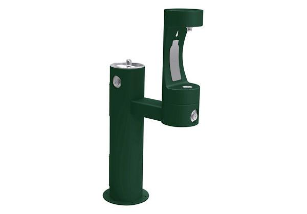 Image for Halsey Taylor Endura II Outdoor HydroBoost Bottle Filling Station, Bi-Level Pedestal Non-Filtered Non-Refrigerated, Evergreen from Halsey Taylor