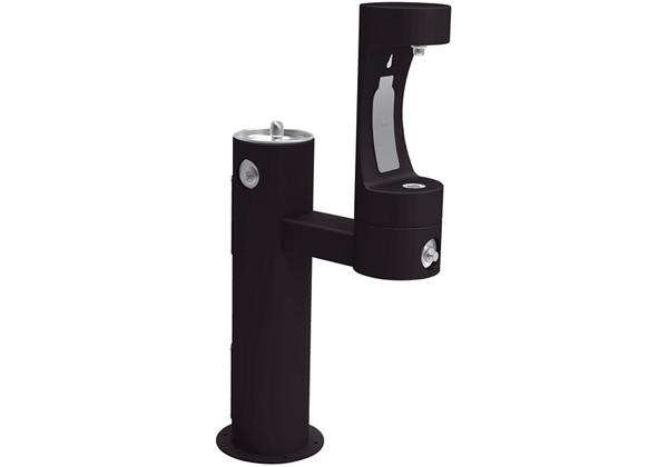 Image for Halsey Taylor Endura II Outdoor HydroBoost Bottle Filling Station, Bi-Level Pedestal Non-Filtered Non-Refrigerated FR, Black from Halsey Taylor
