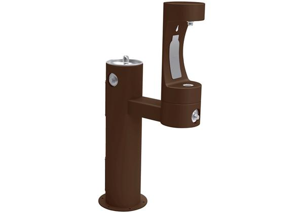 Image for Halsey Taylor Endura II Outdoor HydroBoost Bottle Filling Station, Bi-Level Pedestal Non-Filtered Non-Refrigerated FR, Brown from Halsey Taylor