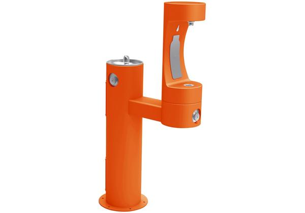 Image for Halsey Taylor Endura II Outdoor HydroBoost Bottle Filling Station, Bi-Level Pedestal Non-Filtered Non-Refrigerated, Orange from Halsey Taylor