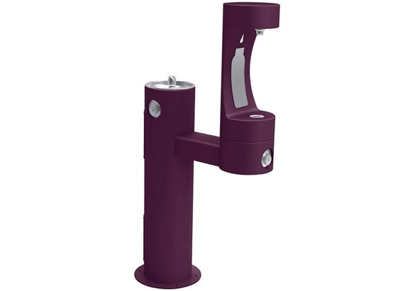 Image for Halsey Taylor Endura II Outdoor HydroBoost Bottle Filling Station, Bi-Level Pedestal Non-Filtered Non-Refrigerated, Purple from Halsey Taylor