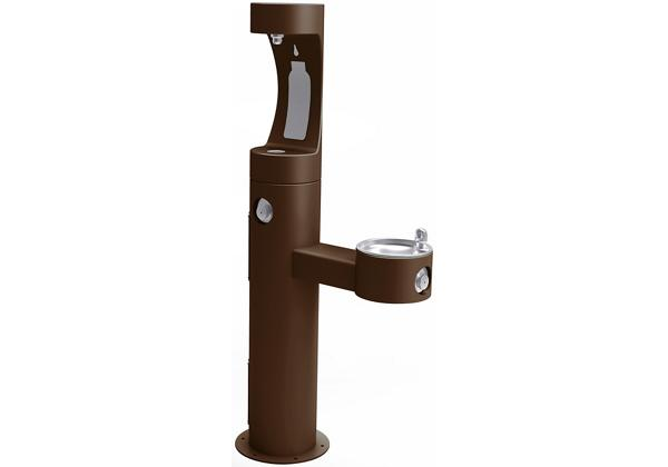 Image for Halsey Taylor Endura II Outdoor HydroBoost Bottle Filling Station, Bi-Level Pedestal Non-Filtered, Non-Refrigerated Brown from Halsey Taylor