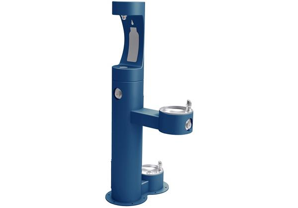 Image for Elkay Outdoor EZH2O Bottle Filling Station Bi-Level, Pedestal with Pet Station Non-Filtered Non-Refrigerated Blue from Elkay Asia Pacific