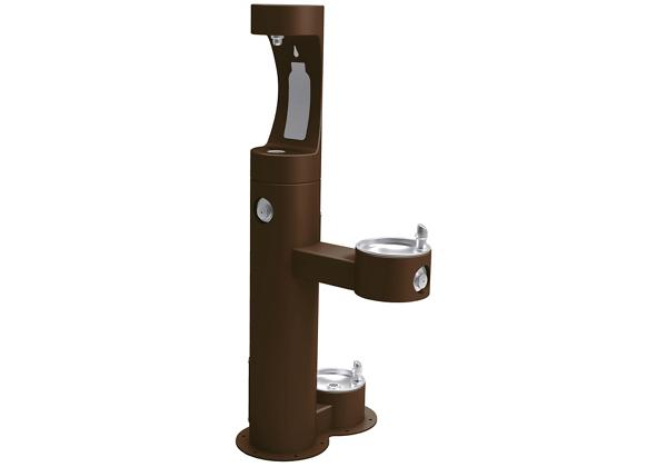 Image for Halsey Taylor Outdoor HydroBoost Bottle Filling Station,  Bi-Level w/ Pet Station Non-Filtered Non-Refrigerated FR Brown from Halsey Taylor