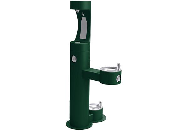 Image for Elkay Outdoor ezH2O Bottle Filling Station, Bi-Level Pedestal with Pet Station NonFilter, NonRefrige FreezeResist Evergreen from Elkay Europe and Africa