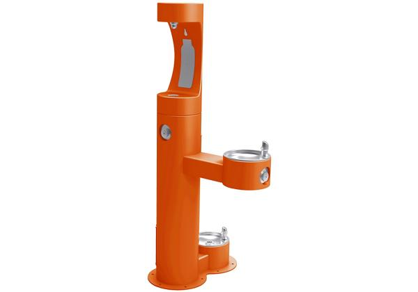 Image for Elkay Outdoor EZH2O Bottle Filling Station Bi-Level, Pedestal with Pet Station Non-Filtered Non-Refrigerated Orange from Elkay Europe and Africa