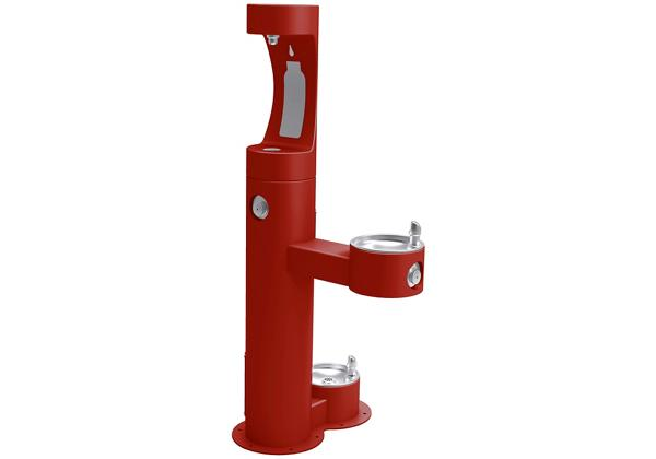 Image for Elkay Outdoor ezH2O Bottle Filling Station Bi-Level Pedestal, with Pet Station Non-Filtered NonRefrige Freeze Resistant Red from Elkay Asia Pacific