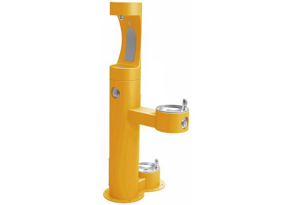 Image for Elkay Outdoor EZH2O Bottle Filling Station Bi-Level, Pedestal with Pet Station Non-Filtered Non-Refrigerated Yellow from Elkay Asia Pacific