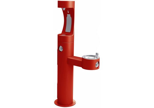 Image for Elkay Outdoor ezH2O Bottle Filling Station Bi-Level Pedestal, Non-Filtered Non-Refrigerated Freeze Resistant Red from Elkay Asia Pacific