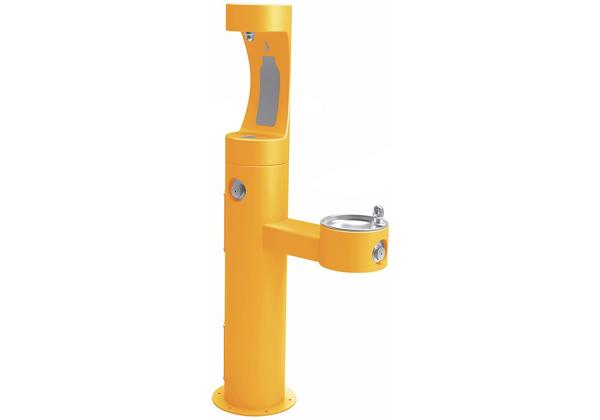 Image for Halsey Taylor Endura II Outdoor HydroBoost Bottle Filling Station, Bi-Level Pedestal Non-Filtered, Non-Refrigerated Yellow from Halsey Taylor