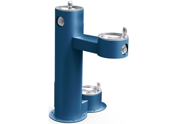 Image for Halsey Taylor Endura II Tubular Outdoor Fountain, Bi-Level Pedestal with Pet Station Non-Filtered Non-Refrigerated, Blue from Halsey Taylor