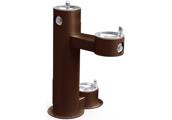 Image for Halsey Taylor Endura II Tubular Outdoor Fountain, Bi-Level Pedestal with Pet Station Non-Filtered Non-Refrigerated, Brown from Halsey Taylor