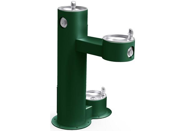 Image for Halsey Taylor Endura II Tubular Outdoor Fountain, Bi-Level Pedestal with Pet Station Non-Filtered Non-Refrigerated, Evergreen from Halsey Taylor