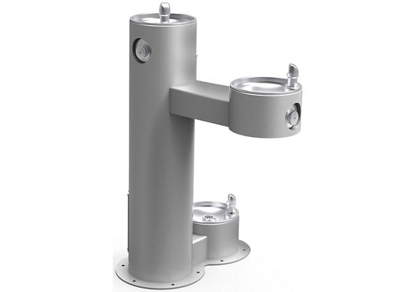 Image for Halsey Taylor EnduraII Tubular Outdoor Fountain, Bi-Level Pedestal with Pet Station, Non-Filtered, Non-Refrigerated, Gray from Halsey Taylor