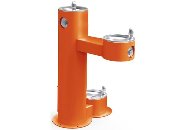 Image for Halsey Taylor Endura II Tubular Outdoor Fountain, Bi-Level Pedestal with Pet Station Non-Filtered Non-Refrigerated, Orange from Halsey Taylor