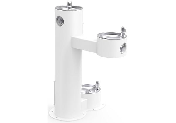 Image for Halsey Taylor Endura II Tubular Outdoor Fountain, Bi-Level Pedestal with Pet Station Non-Filtered Non-Refrigerated, White from Halsey Taylor