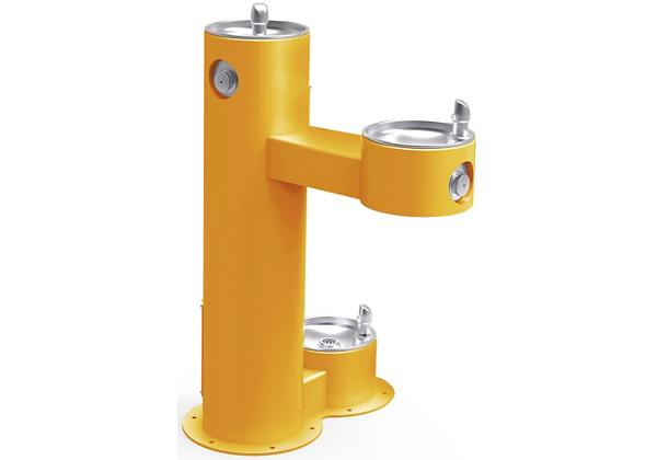Image for Halsey Taylor EnduraII Tubular Outdoor Fountain, Bi-Level Pedestal with Pet Station, Non-Filtered, Non-Refrigerated, Yellow from Halsey Taylor