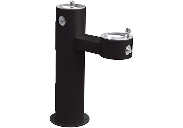 Image for Halsey Taylor EnduraII Tubular Outdoor Fountain, Bi-Level Pedestal, Non-Filtered, Non-Refrigerated, Freeze Resistant, Black from Halsey Taylor