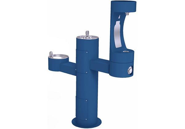 Image for Halsey Taylor Endura II Outdoor HydroBoost Bottle Filling Station, Tri-Level Pedestal, Non-Filtered, Non-refrigerated, Blue from Halsey Taylor