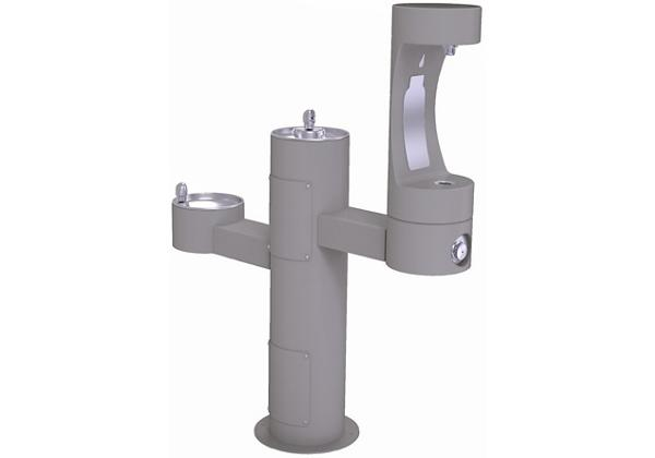 Image for Halsey Taylor Endura II Outdoor HydroBoost Bottle Filling Station, Tri-Level Pedestal Non-Filtered Non-Refrigerated, Gray from Halsey Taylor