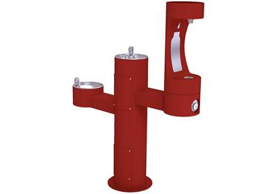 Image for Elkay Outdoor EZH2O Bottle Filling Station Tri-Level Pedestal, Non-Filtered Non-Refrigerated Red from ELKAY