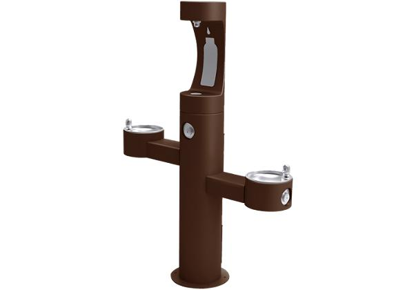 Image for Halsey Taylor Endura II Outdoor HydroBoost Bottle Filling Station, Tri-Level Pedestal Non-Filtered Non-Refrigerated, Brown from Halsey Taylor