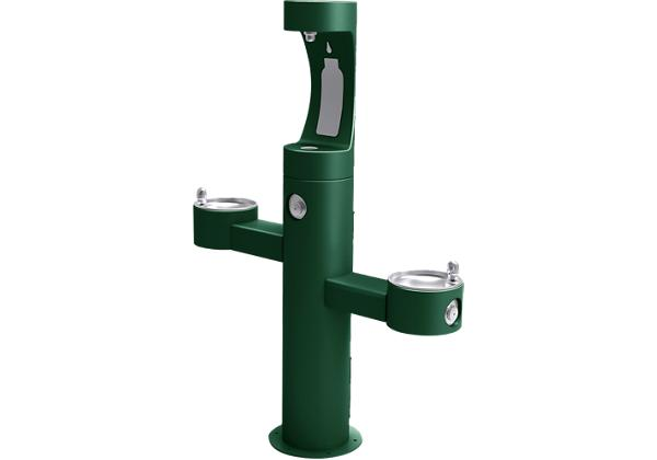 Image for Halsey Taylor Endura II Outdoor HydroBoost Bottle Filling Station, Tri-Level Pedestal Non-Filtered Non-Refrigerated, Evergreen from Halsey Taylor