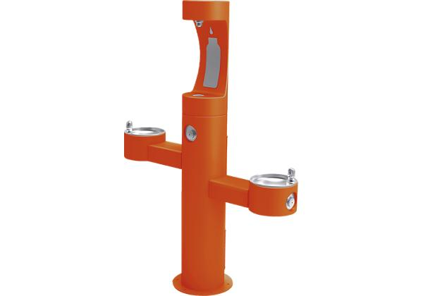 Image for Halsey Taylor Endura II Outdoor HydroBoost Bottle Filling Station, Tri-Level Pedestal, Non-Filtered, Non-refrigerated, Orange from Halsey Taylor
