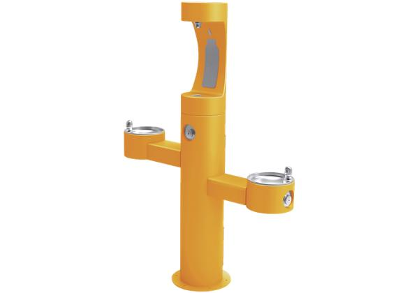 Image for Elkay Outdoor EZH2O Bottle Filling Station Tri-Level Pedestal, Non-Filtered Non-Refrigerated Yellow from Elkay Europe and Africa