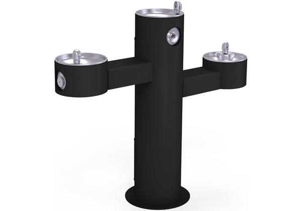 Image for Halsey Taylor EnduraII Tubular Outdoor Fountain, Tri-Level Pedestal, Non-Filtered, Non-Refrigerated, Black from Halsey Taylor
