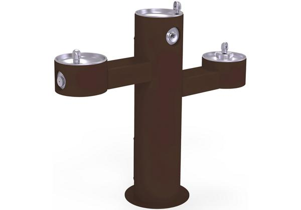 Image for Halsey Taylor EnduraII Tubular Outdoor Fountain, Tri-Level Pedestal, Non-Filtered, Non-Refrigerated, Brown from Halsey Taylor