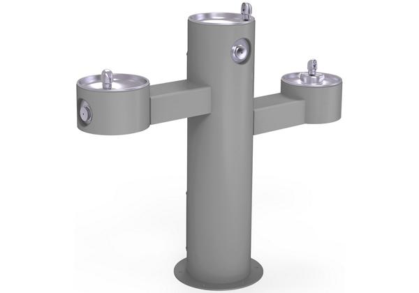 Image for Halsey Taylor EnduraII Tubular Outdoor Fountain, Tri-Level Pedestal, Non-Filtered, Non-Refrigerated, Gray from Halsey Taylor