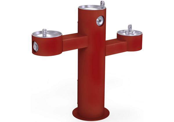 Image for Halsey Taylor EnduraII Tubular Outdoor Fountain, Tri-Level Pedestal, Non-Filtered, Non-Refrigerated, Red from Halsey Taylor
