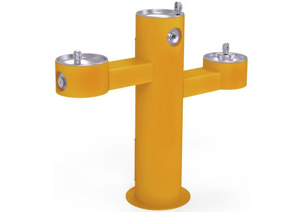 Image for Halsey Taylor EnduraII Tubular Outdoor Fountain, Tri-Level Pedestal, Non-Filtered, Non-Refrigerated, Yellow from Halsey Taylor