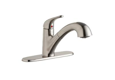 Image for Elkay Single Hole Deck Mount Everyday Kitchen Faucet with Pull-out Spray Lever Handle and Escutcheon Lustrous Steel from ELKAY