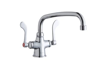 "Image for Elkay Single Hole with Concealed Deck Faucet with 10"" Arc Tube Spout 4"" Wristblade Handles Chrome from ELKAY"