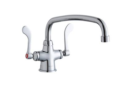 "Image for Elkay Single Hole with Concealed Deck Faucet with 12"" Arc Tube Spout 4"" Wristblade Handles Chrome from ELKAY"