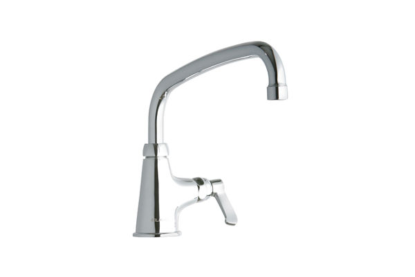 "Elkay Single Hole with Single Control Faucet with 10"" Arc Tube Spout 2"" Lever Handle Chrome"