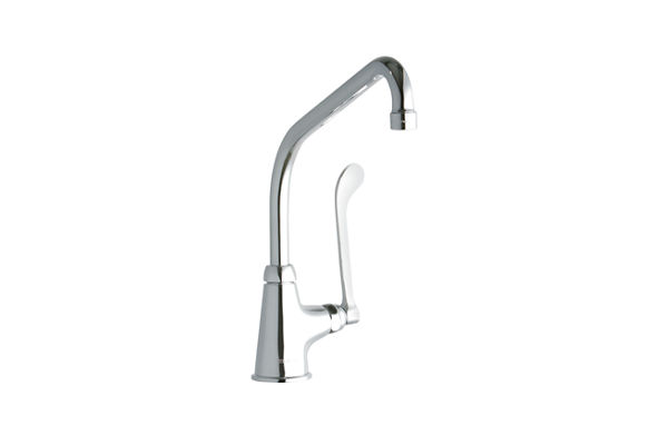 "Elkay Single Hole with Single Control Faucet with 10"" High Arc Spout 6"" Wristblade Handle Chrome"