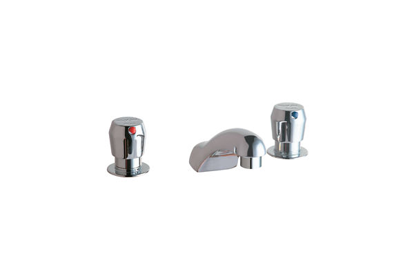 "Elkay 4"" Centerset with Concealed Deck Metered Lavatory Faucet with Cast Fixed Spout Push Button Handles Chrome"