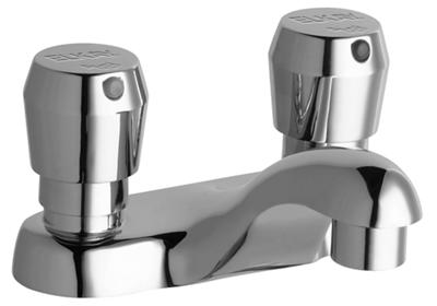 "Image for Elkay Single Hole Deck Mount Metered Lavatory Faucet with 4"" Cast Fixed Spout Push Button Handles Chrome from ELKAY"